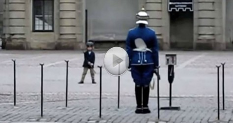 Small Boy Confidently Approaches The Swedish Guard – The Guards Reaction is Priceless