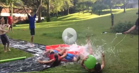 Slip and Slide Kiddie Pool Kickball – Total Chaos – You know you want to watch this…