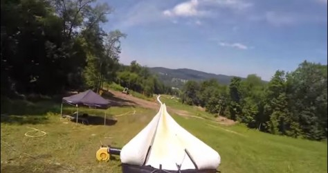 This 2000 foot water slide will make you giggle just watching!! Go Pro